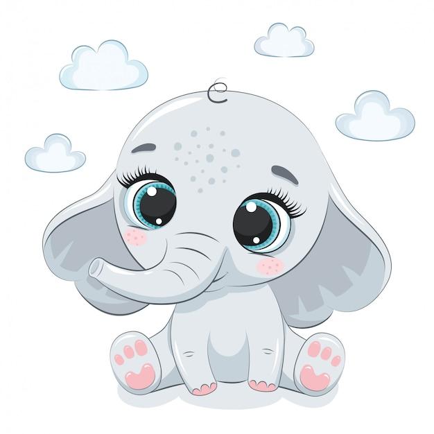 Elefantino carino. illustrazione per baby shower, cartolina d'auguri, invito a una festa, stampa t-shirt abiti moda. Vettore Premium