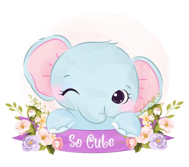 Illustrazione di elefante sveglio del bambino in acquerello Vettore Premium