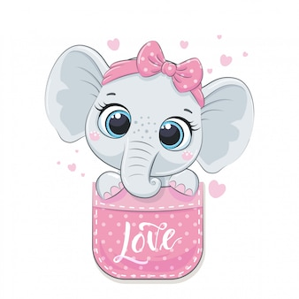 Simpatico elefantino in tasca. Vettore Premium