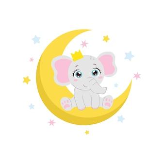 Simpatico elefantino seduto sulla luna illustrazione animale appena nata design piatto vettoriale dei cartoni animati vector
