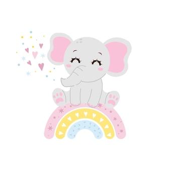 Simpatico elefantino seduto sull'arcobaleno illustrazione animale appena nata design piatto vettoriale dei cartoni animati