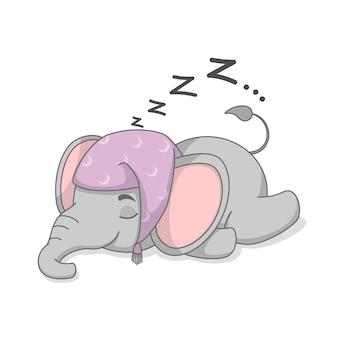 Simpatico elefantino che dorme con il cappello