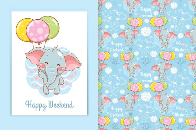 Simpatico elefantino con illustrazione di cartone animato palloncino e set di modelli senza cuciture