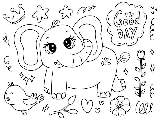Elefante sveglio del bambino con il fumetto dell'illustrazione della pagina da colorare del disegno di scarabocchio dell'uccello