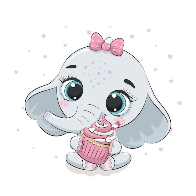 Elefantino carino con cupcake. illustrazione per baby shower, cartolina d'auguri, invito a una festa, stampa t-shirt abiti moda. Vettore Premium