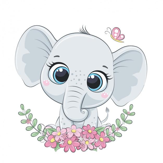 Elefantino carino con ghirlanda. Vettore Premium