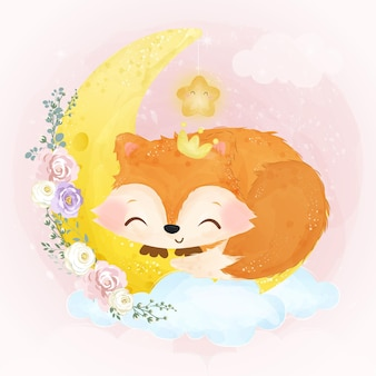 Illustrazione di volpe bambino sveglio in effetto acquerello