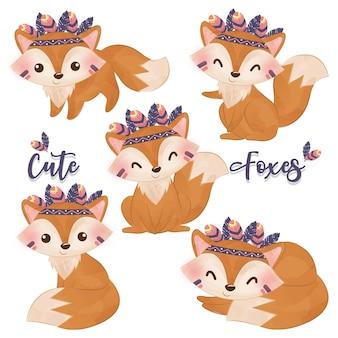 Cute baby volpi illustrazione iin acquerello