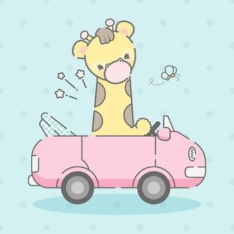 Simpatica giraffa su un'auto premium vector
