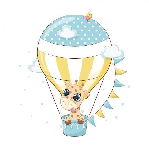 Giraffa sveglia del bambino su una mongolfiera. illustrazione