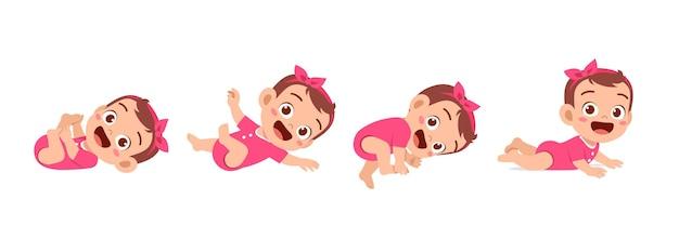 Bambina carina nel set di avanzamento del ciclo di crescita