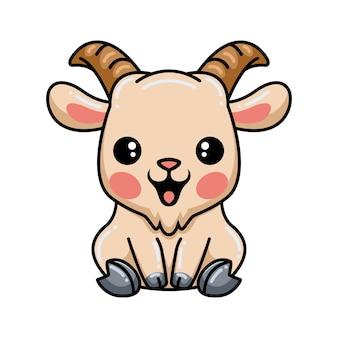 Simpatico cartone animato di capra seduto