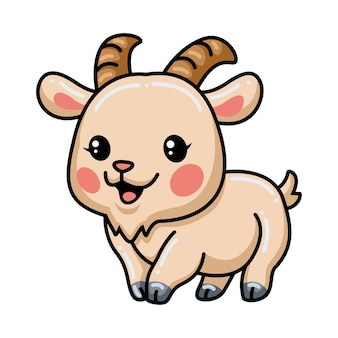 Simpatico cartone animato di capra che cammina
