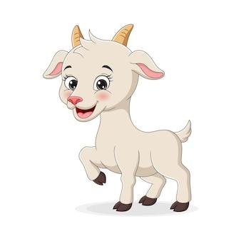 Simpatico cartone animato di capra su sfondo bianco