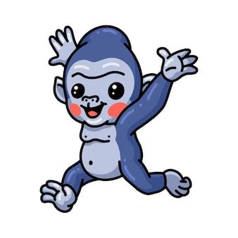 Simpatico cartone animato bambino gorilla in esecuzione