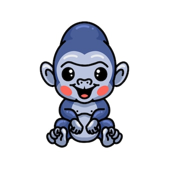Simpatico cartone animato bambino gorilla seduto