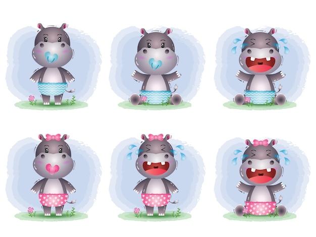 Simpatica collezione di ippopotami nello stile dei bambini