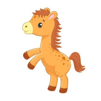 Cavallo bambino carino in stile cartone animato.