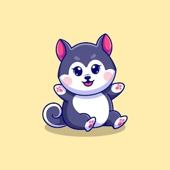 Simpatico cartone animato baby husky dog sitter