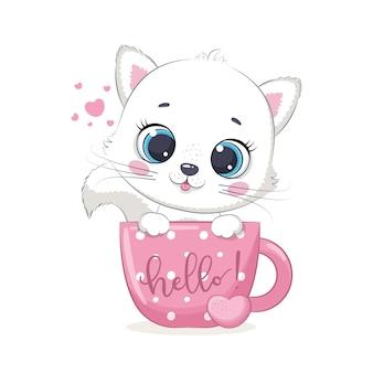 Gattino sveglio del bambino in tazza. illustrazione
