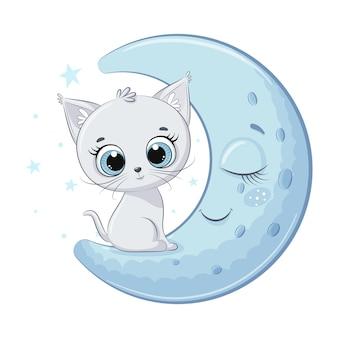 Il gattino sveglio del bambino è seduto sulla luna