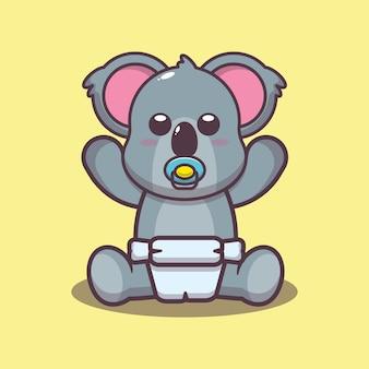 Carino, bambino, koala, cartone animato, vettore, illustrazione