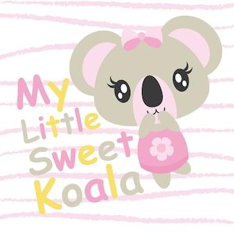 Cute koala del bambino gioca l'illustrazione del fumetto di vettore per il disegno della carta dell'acquazzone del bambino, disegno della maglietta del capretto e carta da parati