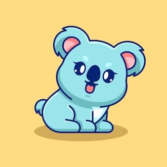 Simpatico cucciolo di koala seduto cartone animato