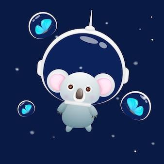 Simpatico cucciolo di koala che indossa il casco da astronauta cartone animato animale