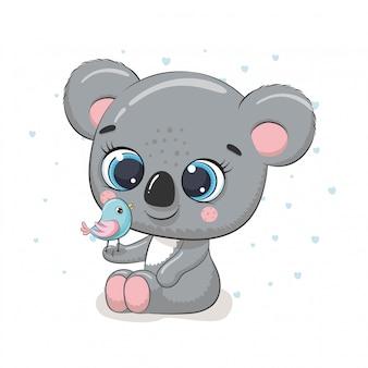 Koala sveglia del bambino con l'uccello. illustrazione per baby shower, cartolina d'auguri, invito a una festa, stampa t-shirt abiti moda.