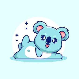 Fumetto sveglio di posa di yoga del koala del bambino