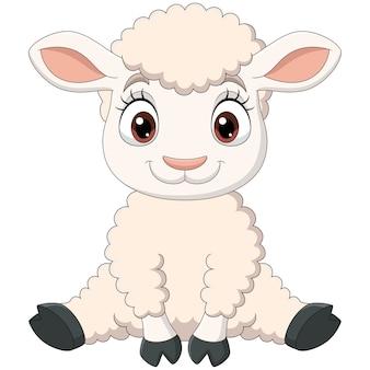 Seduta del fumetto dell'agnello sveglio del bambino