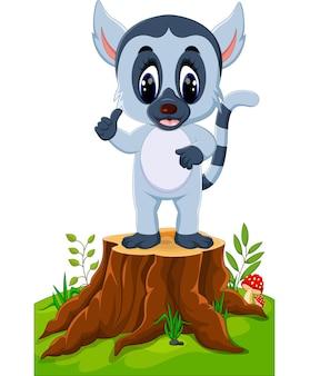 Lemure sveglie del bambino che presentano sul ceppo di albero