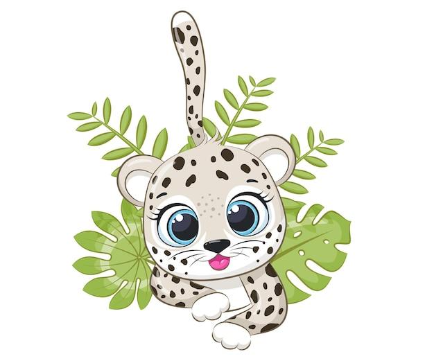 Cute baby leopardcartoon illustrazione vettoriale
