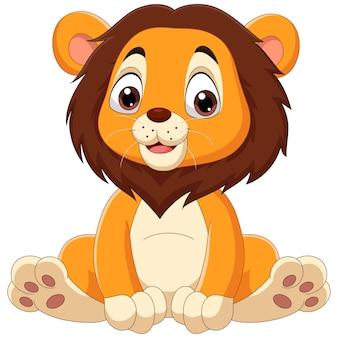 Cartone animato carino leone bambino seduto