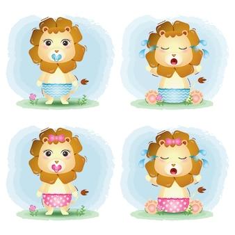 Simpatica collezione di leoni in stile bambini