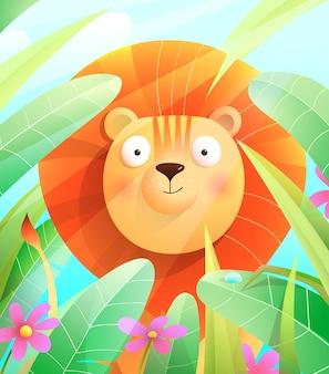 Leone sveglio del bambino nella savana che si siede in foglie di erba con fiori e cielo blu. illustrazione della fauna selvatica colorata