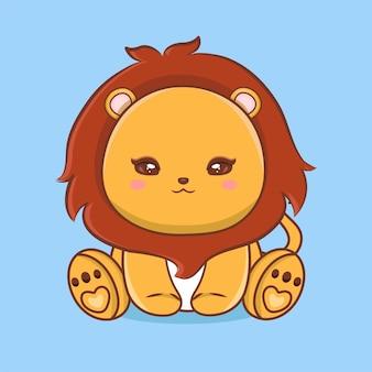 Leone sveglio del bambino che si siede icona di vettore del fumetto. concetto di icona natura animale isolato vettore premium. stile cartone animato piatto