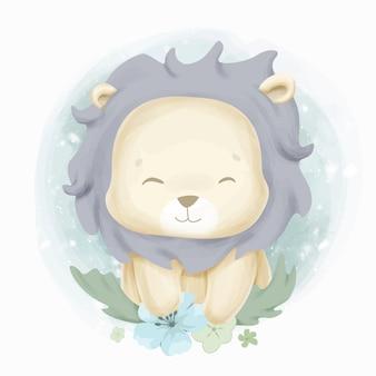 Carino baby lion color acqua