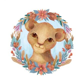 Leone bambino carino con molla floreale