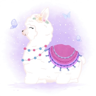Illustrazione sveglia del fumetto del lama e delle farfalle del bambino
