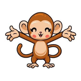 Simpatico cartone animato scimmia bambino alzando le mani