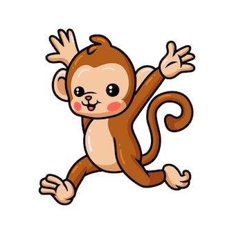 Simpatico cartone animato scimmietta in esecuzione