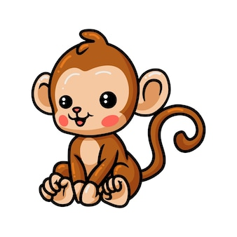 Simpatico cartone animato scimmia bambino seduto