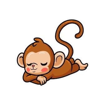 Simpatico cartone animato scimmia che dorme