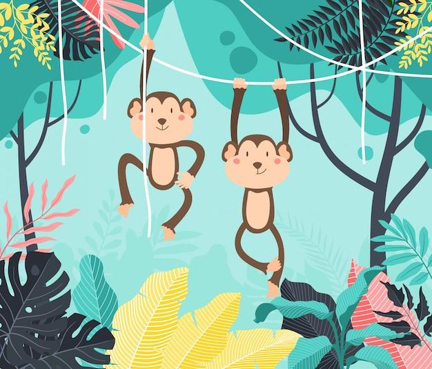 Scimmia sveglia del bambino che appende sull'albero. simpatica scimmia che oscilla da viti, liane.