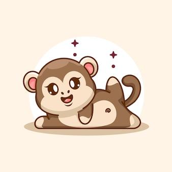 Fumetto sveglio di posa di yoga della scimmia del bambino