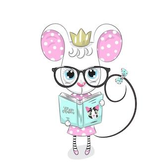 Topolino sveglio con il libro disegnato a mano del fumetto