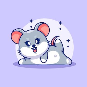 Fumetto sveglio di posa di yoga del topo del bambino
