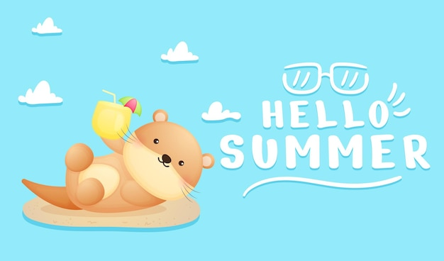 Cute baby lontra che tiene il succo con banner di auguri estivi